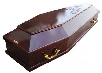 Гроб 13 лак резнойроза,крест,косичка