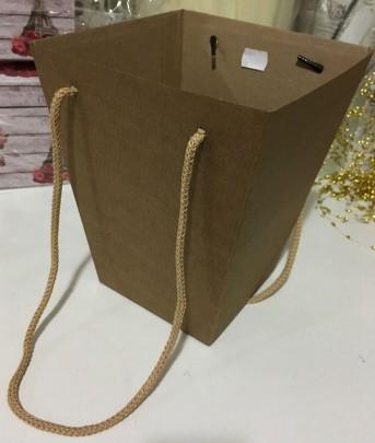 Коробка для цветов крафт гладкий 125*180*225