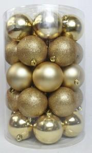 Игрушка набор шаров глянцевые,матовые,глиттер 80мм*34шт