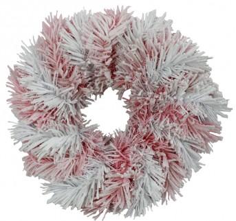 Венок заснеженный бело-розовый ZX0867 30см