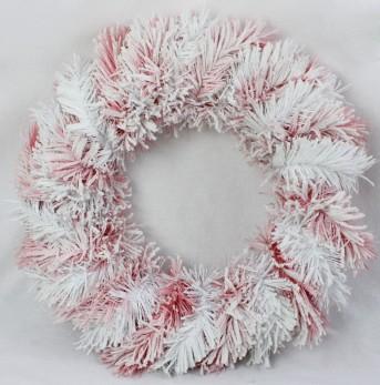 Венок заснеженный бело-розовый ZX0869 50см