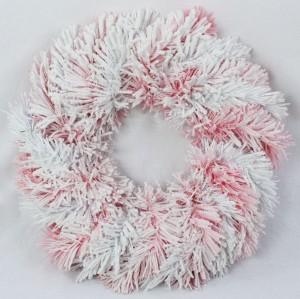Венок заснеженный бело-розовый ZX0868 35см
