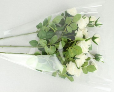 Пакет для цветка треуг-к 50*50*10см прозр.+прозр.