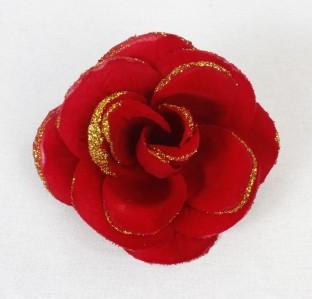 Г428 роза барх.с золотом Яркая d15cм